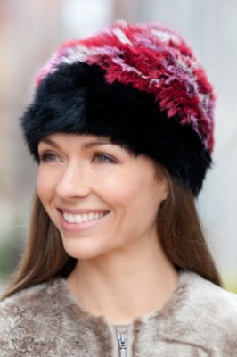 Women's Rex Rabbit Fur Hat with Fox Fur Pom