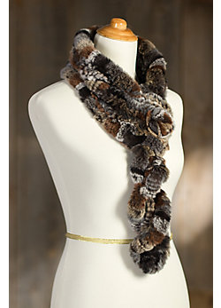 Women's Rex Rabbit Fur Ruffle Scarf with Rosette