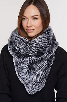 Knitted Rex Rabbit Fur Infinity Scarf II