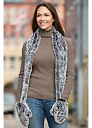 Women's Knitted Rex Rabbit Fur Scarf with Mittens