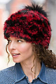 Women's Rabbit Fur Hat with Detachable Fox Fur Pom