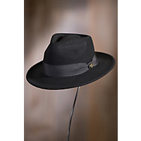 1950's Mens Hats Goorin Bros. F. Fratelli Wool Fedora Hat BLACK Size SmallMedium 22 12quot circumference $55.00 AT vintagedancer.com