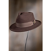 1950's Mens Hats Goorin Bros. F. Fratelli Wool Fedora Hat BROWN Size SmallMedium 22 12quot circumference $55.00 AT vintagedancer.com