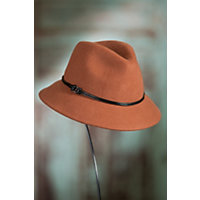 1940s Hats History Goorin Bros. Sofia Wool Fedora Hat ORANGE Size MEDIUM 22 12quot circumference $63.00 AT vintagedancer.com