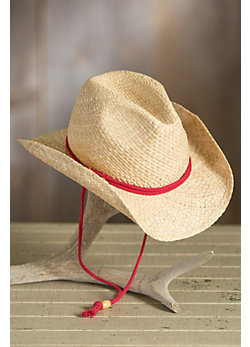 Children's Raffia Western Hat with Chinstrap