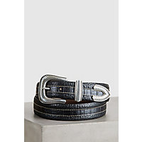 Overland Coloma Bison Leather Belt, BLACK, Size 42