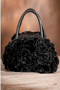 Women's Small Flowered Rabbit Fur Handbag