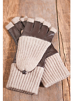 Women's Leather and Cashmere Fingerless Gloves with Mitten Flap