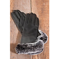 Women's Lambskin Leather Gloves with Cashmere-Blend Lining and Rabbit Fur Trim, BLACK/CHINCHILLA, Size LARGE