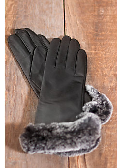 Women's Lambskin Leather Gloves with Cashmere-Blend Lining and Rabbit Fur Trim