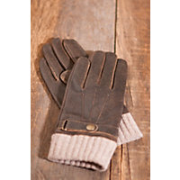 Men's Distressed Lambskin Leather and Wool Flight Gloves, BROWN, Size LARGE