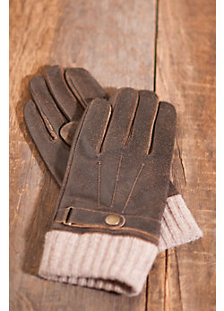 Men's Distressed Lambskin Leather and Wool Flight Gloves