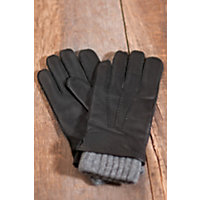 Men's 2 in 1 Deerskin Leather and Cashmere Gloves, BLACK/HEATHER GREY, Size MEDIUM