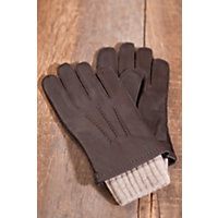 Men's 2 in 1 Deerskin Leather and Cashmere Gloves, BROWN/OATMEAL, Size MEDIUM