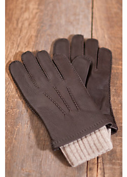Men's 2 in 1 Deerskin Leather and Cashmere Gloves