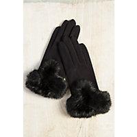 Vintage Style Gloves Womens Microfiber Gloves with Rabbit Fur Trim BLACK Size 1 Size $69.00 AT vintagedancer.com