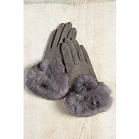 Vintage Style Gloves Womens Microfiber Gloves with Rabbit Fur Trim GRAY Size 1 Size $69.00 AT vintagedancer.com