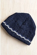 Check Stripe Merino Wool Beanie Hat