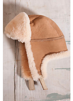 Sueded Sheepskin Aviator Hat