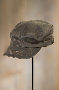 Weathered Cotton Military Cadet Cap