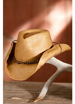 Women's Shapeable Toyo Straw Hat with Stones