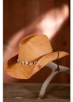 Women's Raffia Hat with Shells & Beads