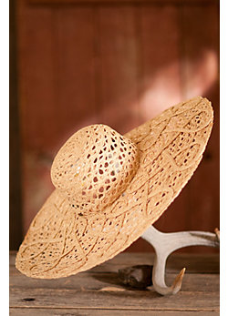Women's Lattice Weave Raffia Hat
