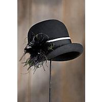 1920s Style Hats Womens Peacock Wool Felt Cloche Hat BLACK Size 1 Size $49.00 AT vintagedancer.com