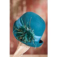 Womens Peacock Wool Felt Cloche Hat TEAL Size 1 Size $49.00 AT vintagedancer.com