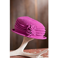 """Women's Boiled Wool Cloche Hat With Rosettes, Berry (24"""" Circumference) Western & Country"""