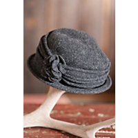 """Women's Boiled Wool Cloche Hat With Rosettes, Charcoal (24"""" Circumference) Western & Country"""