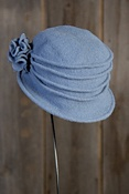 Women's Boiled Wool Cloche Hat with Rosettes