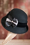 Women's Wool Felt Cloche Hat with Satin Bow