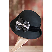 Women's Wool Felt Cloche Hat With Satin Bow Western & Country
