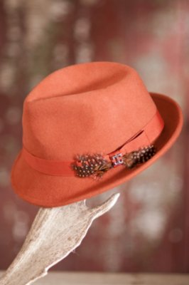 Women's Wool Felt Fedora Hat with Feather Bow