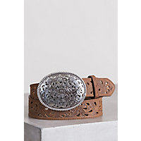 Pierced Filigree Trophy Leather Belt, Aged Bark, Size 36 Western & Country