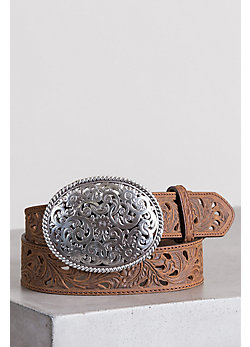 Women's Pierced Filigree Trophy Leather Belt