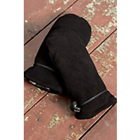 Women's Ali Sueded Deerskin Leather Mittens, Black, Size 7 Western & Country