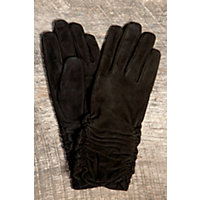 Women's Ruching Long Suede Gloves, Black, Size Medium (7) Western & Country