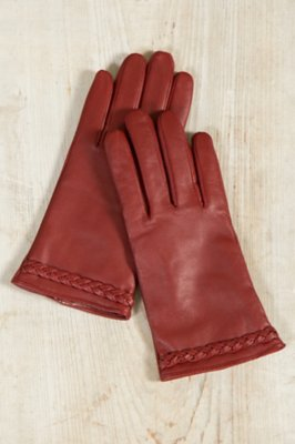 Women's Lambskin Leather Gloves with Braid Detail