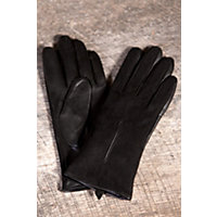 Women's Suede And Lambskin Leather Gloves, Black, Size Medium (7) Western & Country