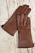 Women's Classic Contrast Stitch Handmade Lambskin Leather Gloves