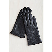 Vintage Style Gloves Womens Contrast Wool-Lined Lambskin Leather Gloves BLACKCHOCOLATE Size XLARGE  8 $65.00 AT vintagedancer.com