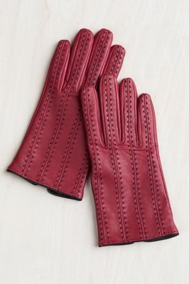 Women's Contrast Hand-Stitched Lambskin Leather Gloves