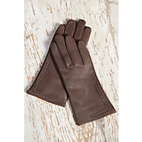 Edwardian Accessories Womens Contrast Stitch Lambskin Leather Gloves with Cashmere Lining TAWNYBLACK Size XLARGE  8 $69.00 AT vintagedancer.com
