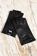 Women's Fingerless Lambskin Leather Gloves with Keyhole Vent