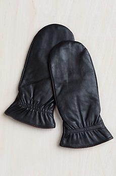Women's Finger-Lined Lambskin Leather Mittens