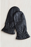 Women's Finger-Lined Lambskin Leather Mittens