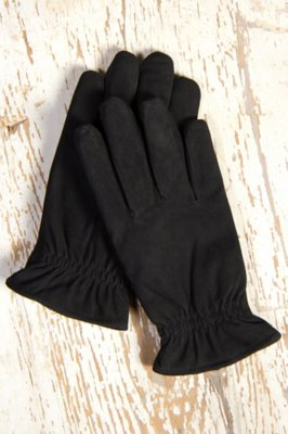Men's Suede Gloves with Cinched Wrist
