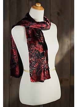 Red Peony Silk Velvet Scarf